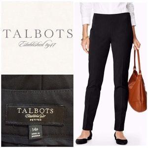 Talbots Classic Side Zip Black Velvet Pants 14p